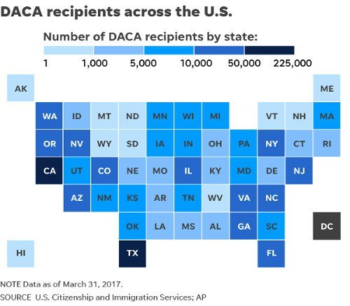 US DACA recipients by state