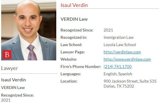 Isaul Verdin - Included in 27th Edition of The Best Lawyers in America© 2021